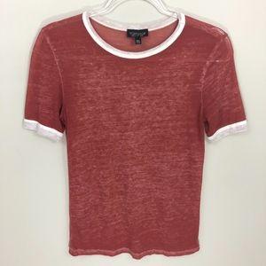 Topshop Red Short Sleeve T-Shirt 4